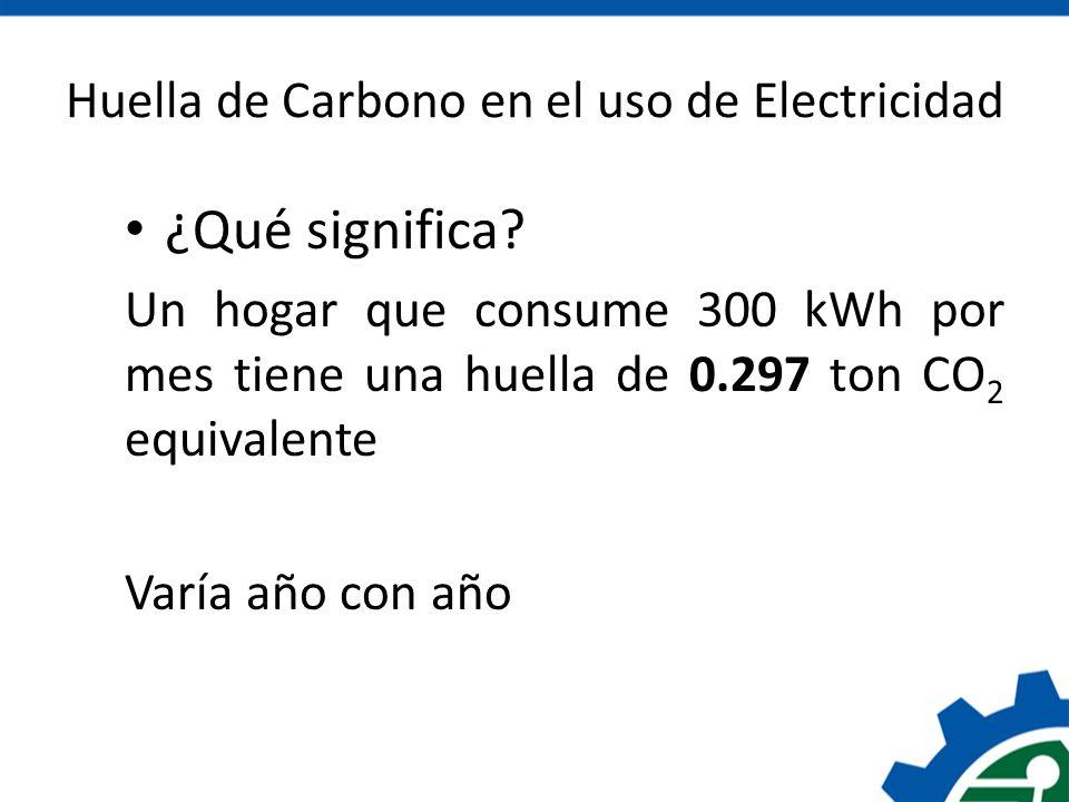 Huella de Carbono en el uso de Electricidad ¿Qué significa? Un hogar que consume 300 kWh por mes tiene una huella de 0.297 ton CO 2 equivalente Varía