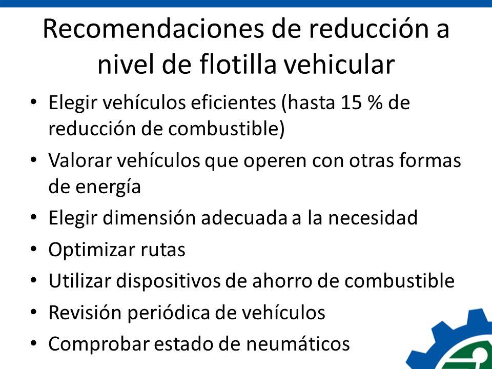 Recomendaciones de reducción a nivel de flotilla vehicular Elegir vehículos eficientes (hasta 15 % de reducción de combustible) Valorar vehículos que