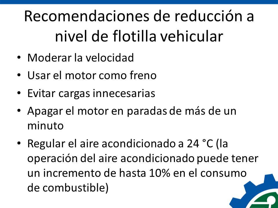 Recomendaciones de reducción a nivel de flotilla vehicular Moderar la velocidad Usar el motor como freno Evitar cargas innecesarias Apagar el motor en