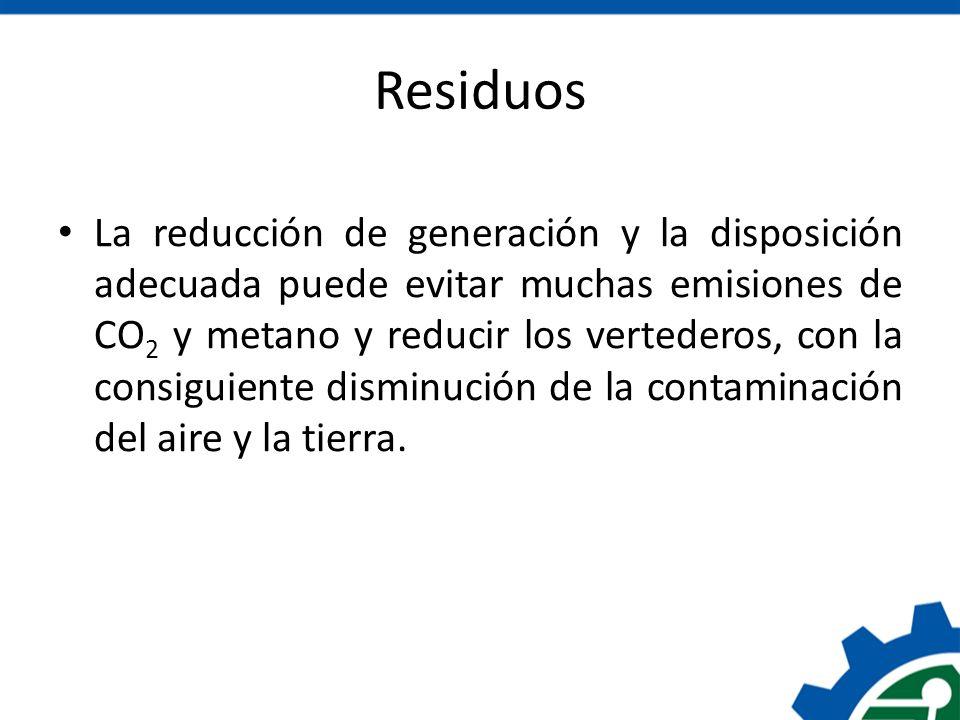 Residuos La reducción de generación y la disposición adecuada puede evitar muchas emisiones de CO 2 y metano y reducir los vertederos, con la consigui