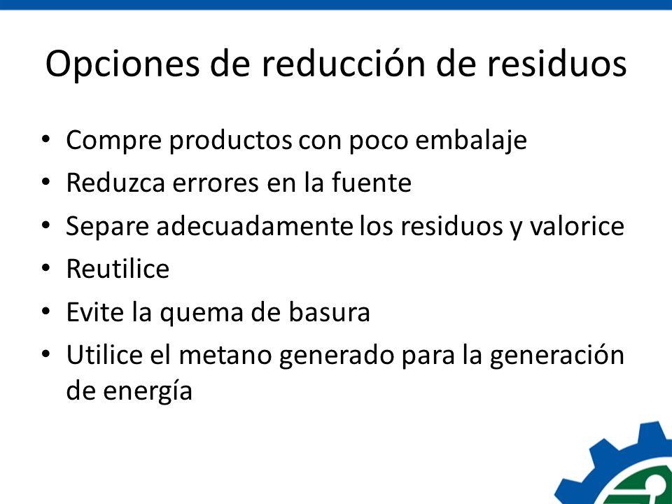 Opciones de reducción de residuos Compre productos con poco embalaje Reduzca errores en la fuente Separe adecuadamente los residuos y valorice Reutili