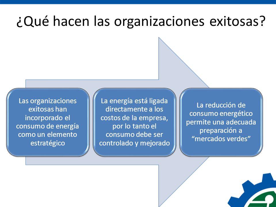 ¿Qué hacen las organizaciones exitosas? Las organizaciones exitosas han incorporado el consumo de energía como un elemento estratégico La energía está