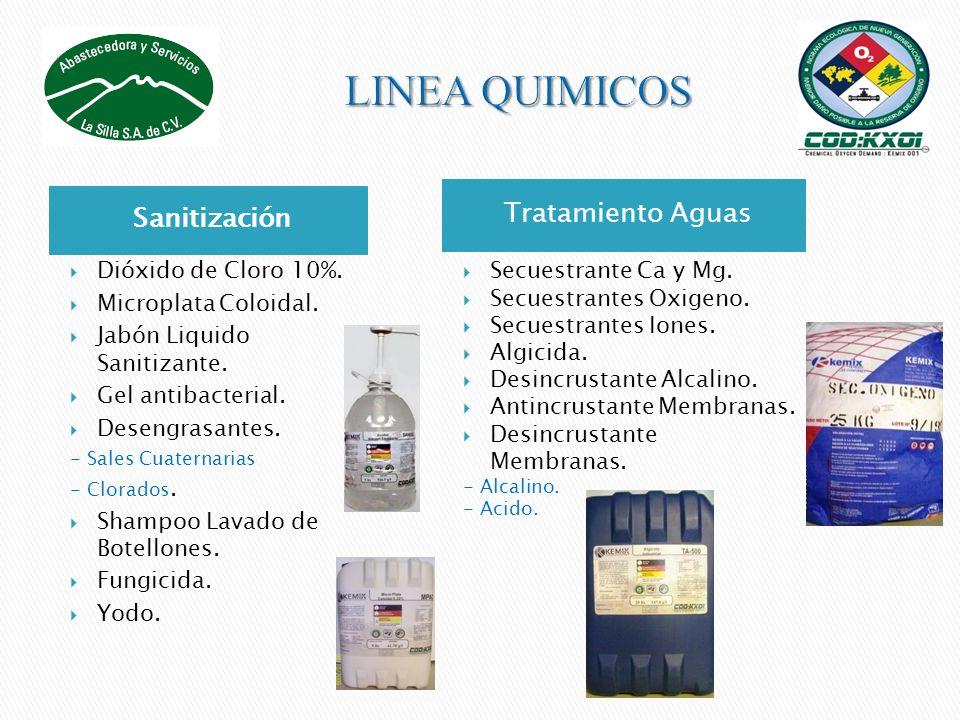 Sanitización Tratamiento Aguas Dióxido de Cloro 10%. Microplata Coloidal. Jabón Liquido Sanitizante. Gel antibacterial. Desengrasantes. - Sales Cuater
