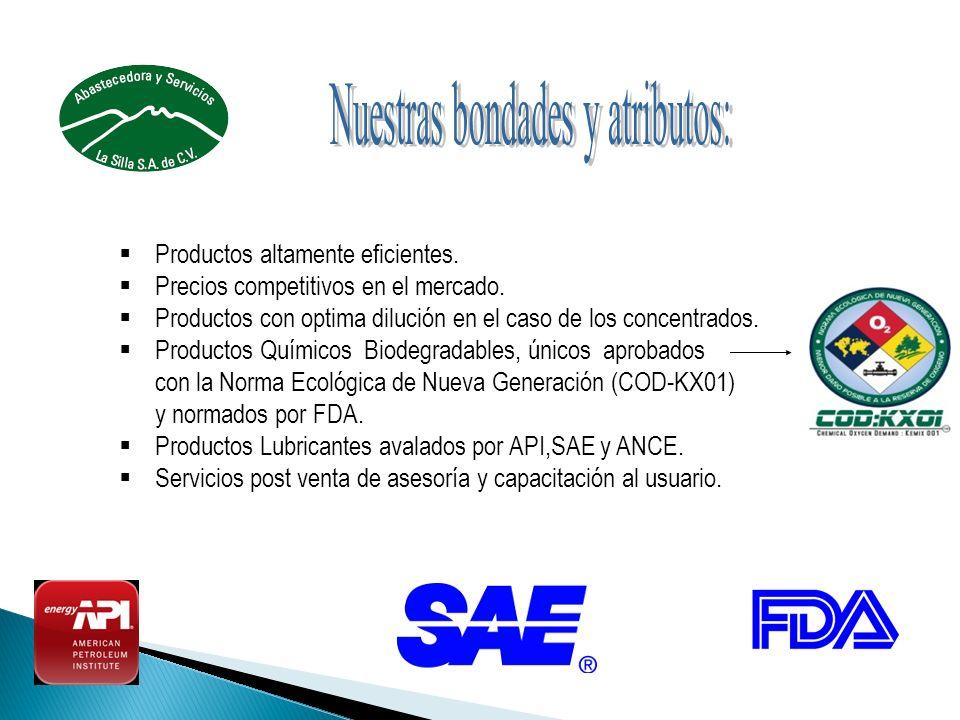 Productos altamente eficientes. Precios competitivos en el mercado. Productos con optima dilución en el caso de los concentrados. Productos Químicos B