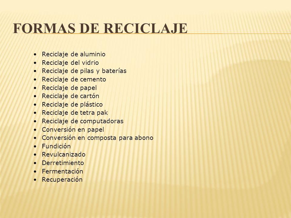FORMAS DE RECICLAJE Reciclaje de aluminio Reciclaje del vidrio Reciclaje de pilas y baterías Reciclaje de cemento Reciclaje de papel Reciclaje de cart