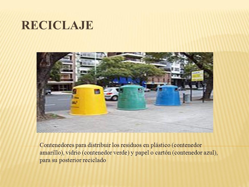 RECICLAJE Contenedores para distribuir los residuos en plástico (contenedor amarillo), vidrio (contenedor verde) y papel o cartón (contenedor azul), p