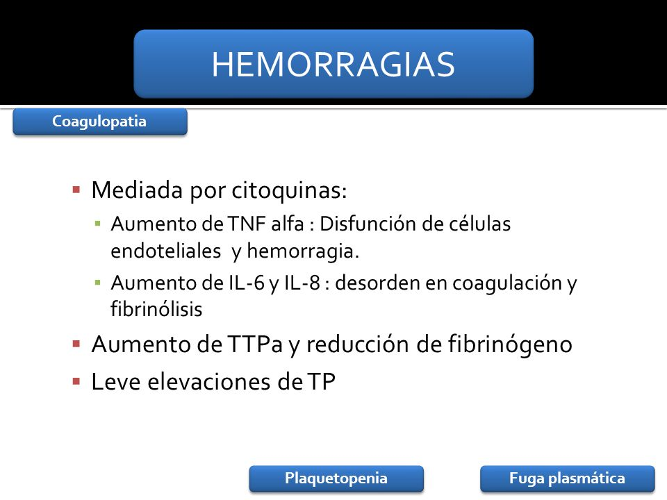 Mediada por citoquinas: Aumento de TNF alfa : Disfunción de células endoteliales y hemorragia. Aumento de IL-6 y IL-8 : desorden en coagulación y fibr