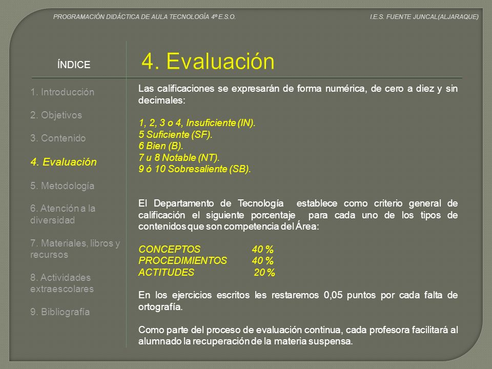 1. Introducción 2. Objetivos 3. Contenido 4. Evaluación 5. Metodología 6. Atención a la diversidad 7. Materiales, libros y recursos 8. Actividades ext