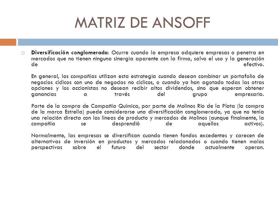 MATRIZ DE ANSOFF Diversificación conglomerada: Ocurre cuando la empresa adquiere empresas o penetra en mercados que no tienen ninguna sinergia aparente con la firma, salvo el uso y la generación de efectivo.