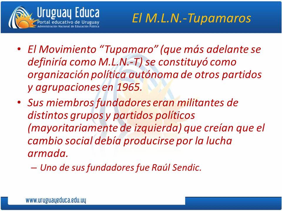 El M.L.N.-Tupamaros El Movimiento Tupamaro (que más adelante se definiría como M.L.N.-T) se constituyó como organización política autónoma de otros pa