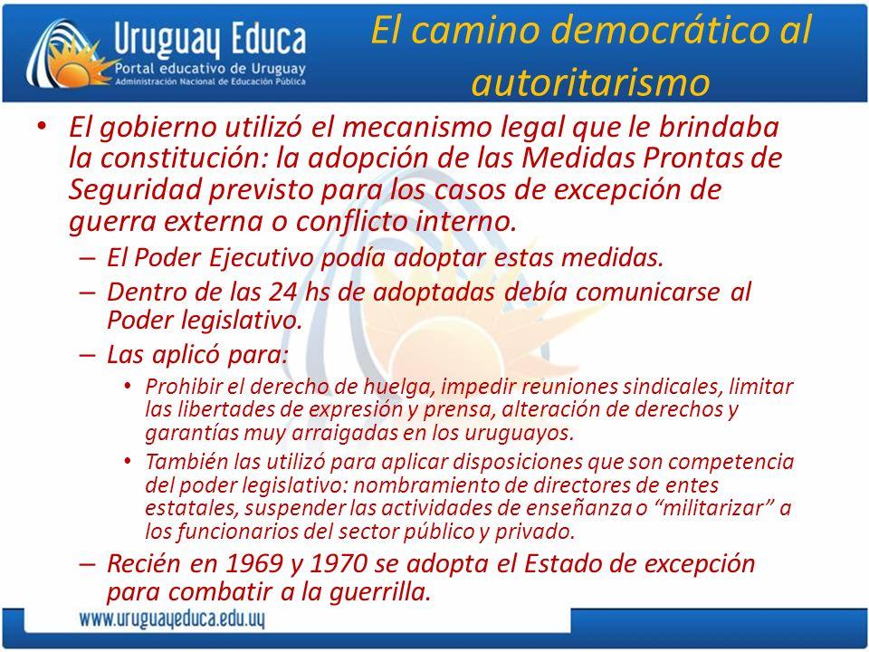 El camino democrático al autoritarismo El gobierno utilizó el mecanismo legal que le brindaba la constitución: la adopción de las Medidas Prontas de S
