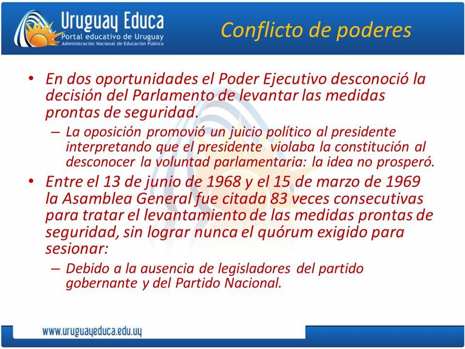 Conflicto de poderes En dos oportunidades el Poder Ejecutivo desconoció la decisión del Parlamento de levantar las medidas prontas de seguridad. – La