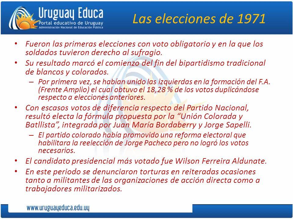 Las elecciones de 1971 Fueron las primeras elecciones con voto obligatorio y en la que los soldados tuvieron derecho al sufragio. Su resultado marcó e