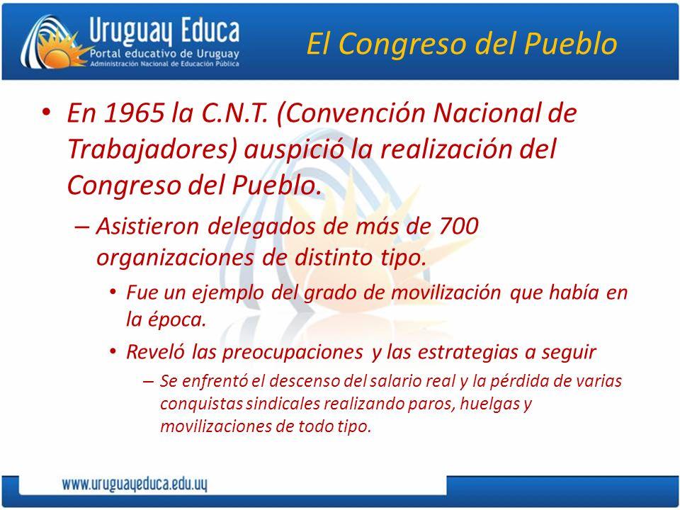 El Congreso del Pueblo En 1965 la C.N.T. (Convención Nacional de Trabajadores) auspició la realización del Congreso del Pueblo. – Asistieron delegados