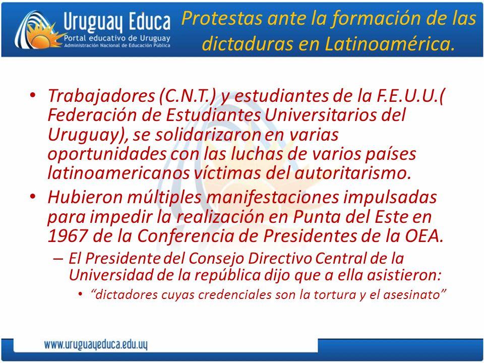 Protestas ante la formación de las dictaduras en Latinoamérica. Trabajadores (C.N.T.) y estudiantes de la F.E.U.U.( Federación de Estudiantes Universi