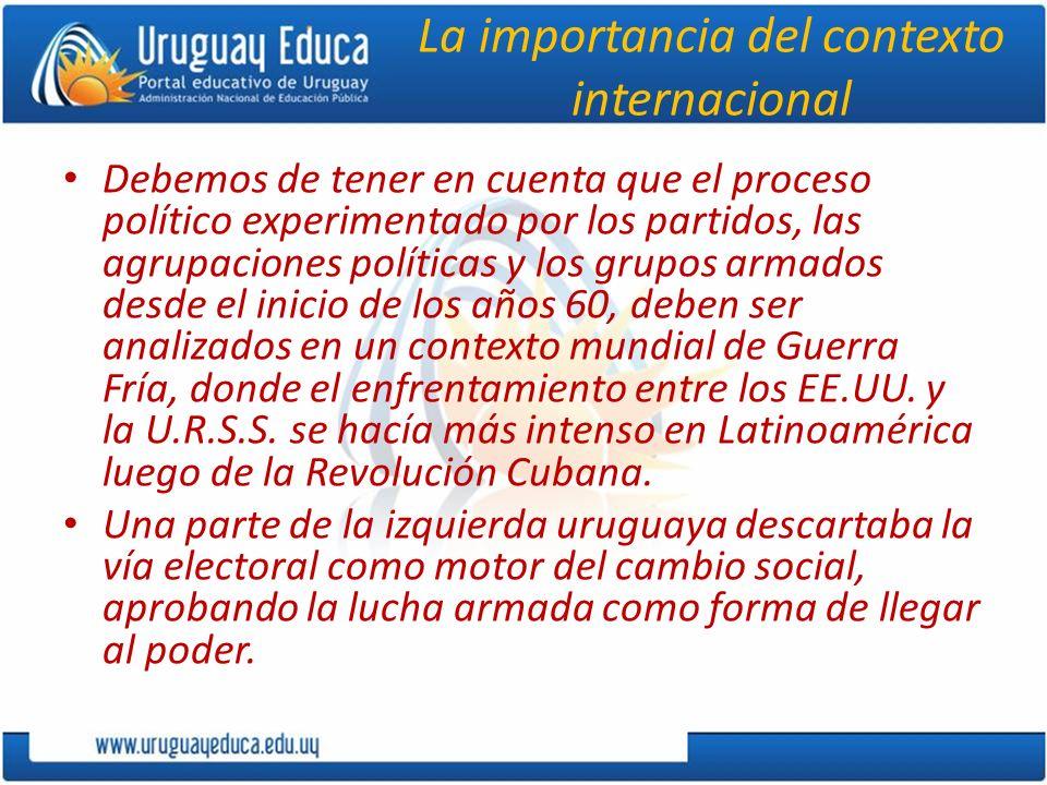 La importancia del contexto internacional Debemos de tener en cuenta que el proceso político experimentado por los partidos, las agrupaciones política