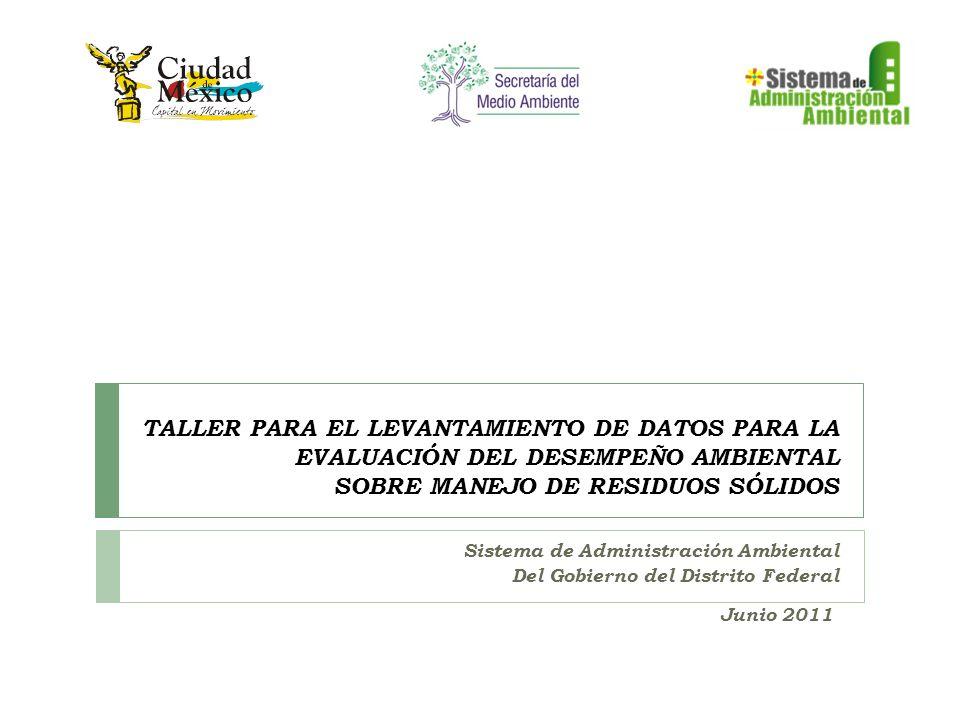 TALLER PARA EL LEVANTAMIENTO DE DATOS PARA LA EVALUACIÓN DEL DESEMPEÑO AMBIENTAL SOBRE MANEJO DE RESIDUOS SÓLIDOS Sistema de Administración Ambiental