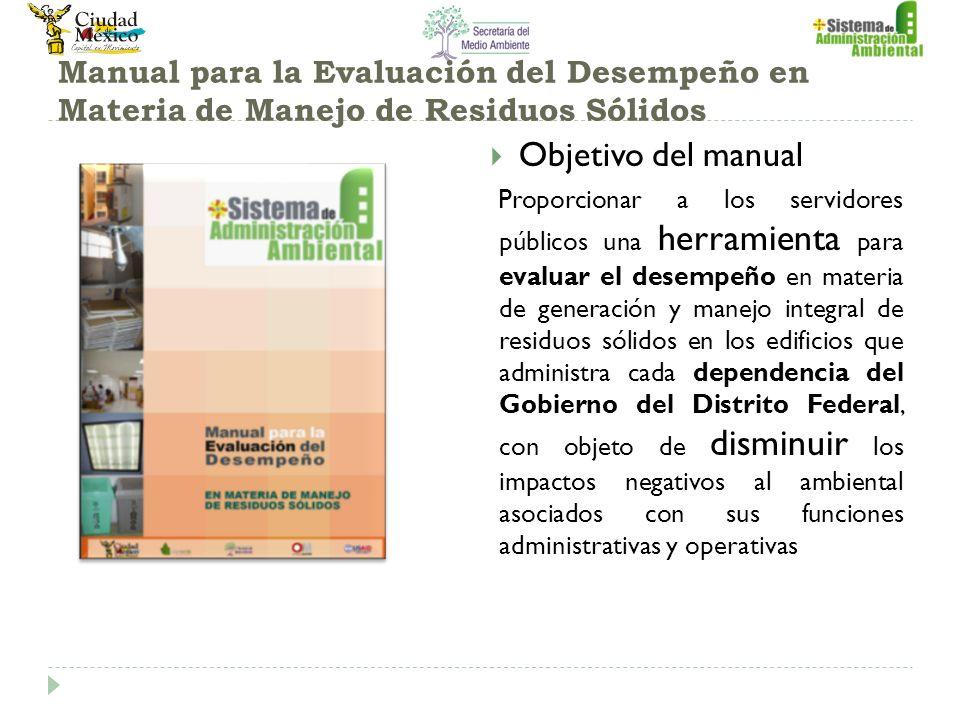 Manual para la Evaluación del Desempeño en Materia de Manejo de Residuos Sólidos Objetivo del manual Proporcionar a los servidores públicos una herram