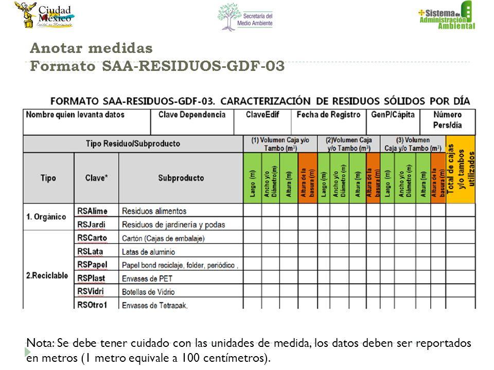 Anotar medidas Formato SAA-RESIDUOS-GDF-03 Nota: Se debe tener cuidado con las unidades de medida, los datos deben ser reportados en metros (1 metro equivale a 100 centímetros).