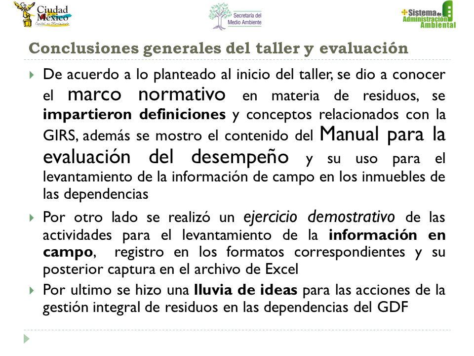 Conclusiones generales del taller y evaluación De acuerdo a lo planteado al inicio del taller, se dio a conocer el marco normativo en materia de resid