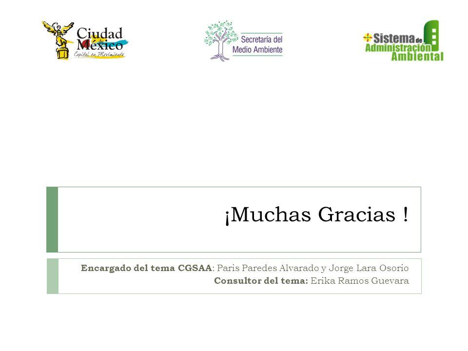 ¡Muchas Gracias ! Encargado del tema CGSAA : Paris Paredes Alvarado y Jorge Lara Osorio Consultor del tema: Erika Ramos Guevara