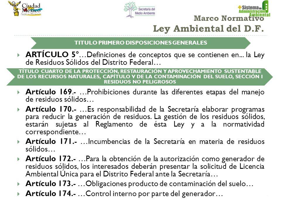 Marco Normativo Ley Ambiental del D.F. ARTÍCULO 5°…Definiciones de conceptos que se contienen en... la Ley de Residuos Sólidos del Distrito Federal… A
