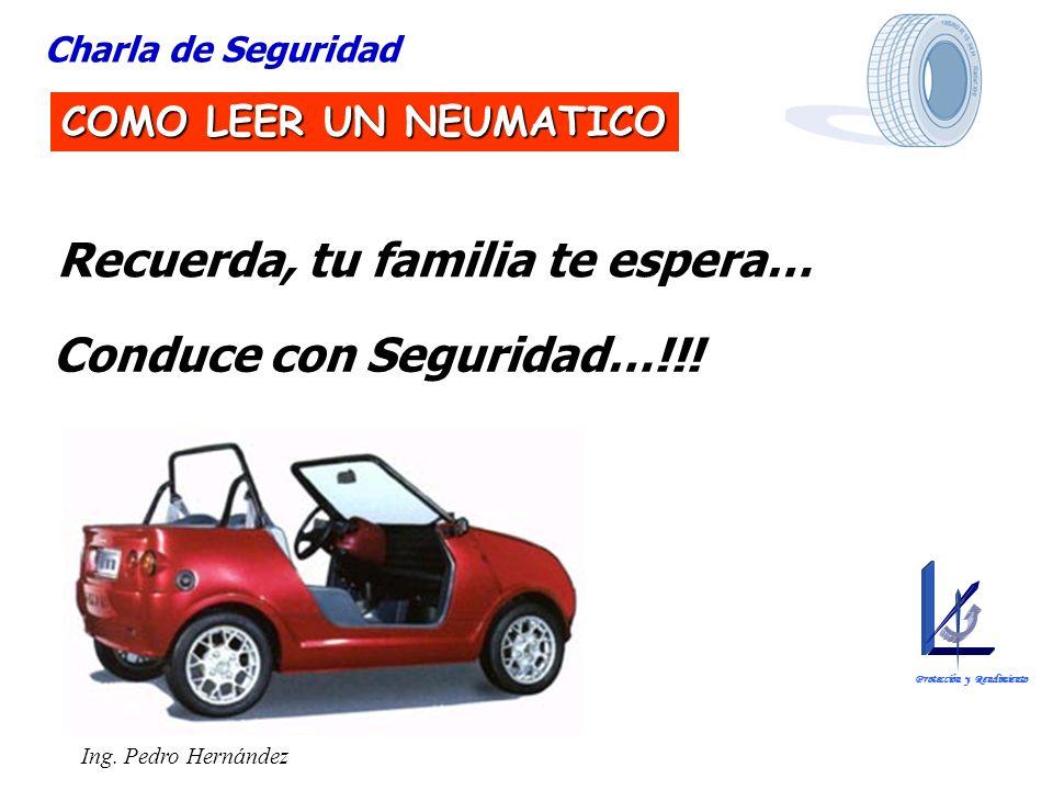 Ing. Pedro Hernández Charla de Seguridad COMO LEER UN NEUMATICO Recuerda, tu familia te espera… Conduce con Seguridad…!!! Protección y Rendimiento