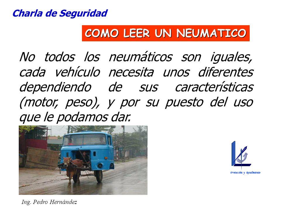 Ing. Pedro Hernández No todos los neumáticos son iguales, cada vehículo necesita unos diferentes dependiendo de sus características (motor, peso), y p