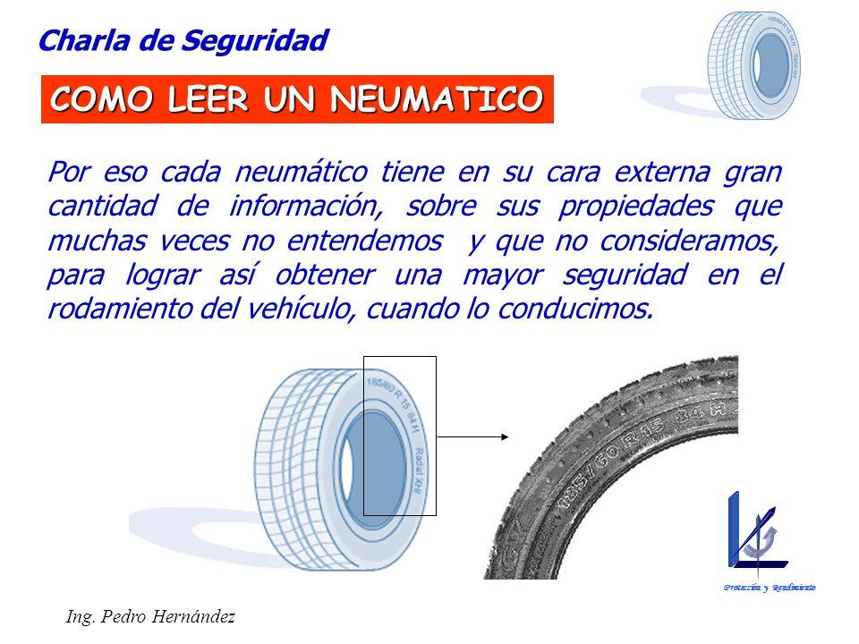 Ing. Pedro Hernández Por eso cada neumático tiene en su cara externa gran cantidad de información, sobre sus propiedades que muchas veces no entendemo