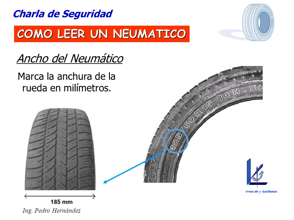 Ing. Pedro Hernández Charla de Seguridad COMO LEER UN NEUMATICO Ancho del Neumático Marca la anchura de la rueda en milímetros. Protección y Rendimien