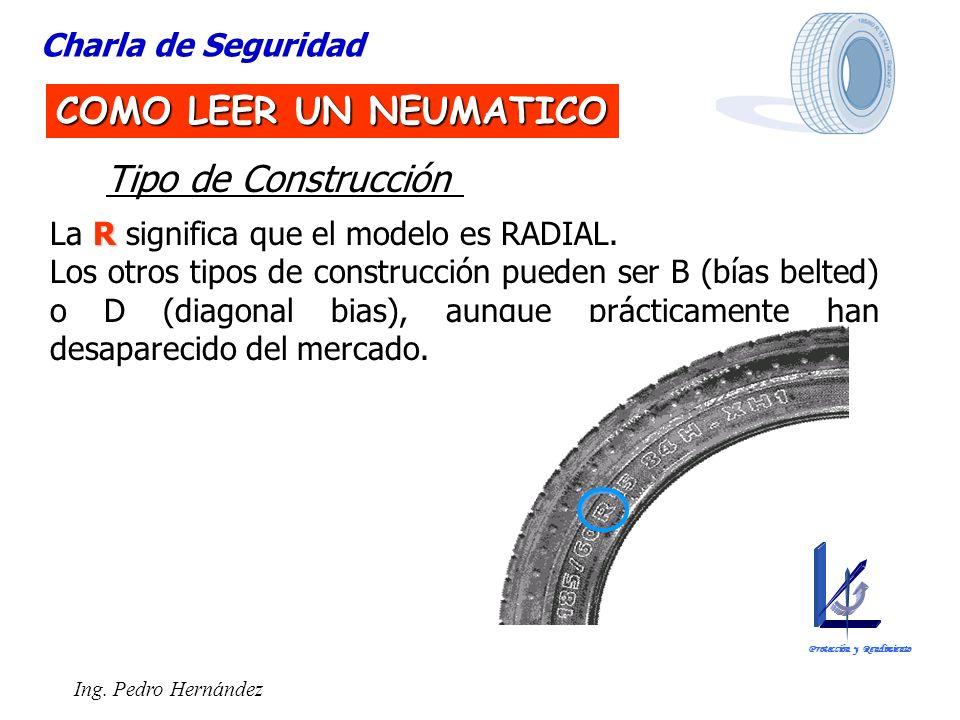 Ing. Pedro Hernández Charla de Seguridad COMO LEER UN NEUMATICO Tipo de Construcción R La R significa que el modelo es RADIAL. Los otros tipos de cons