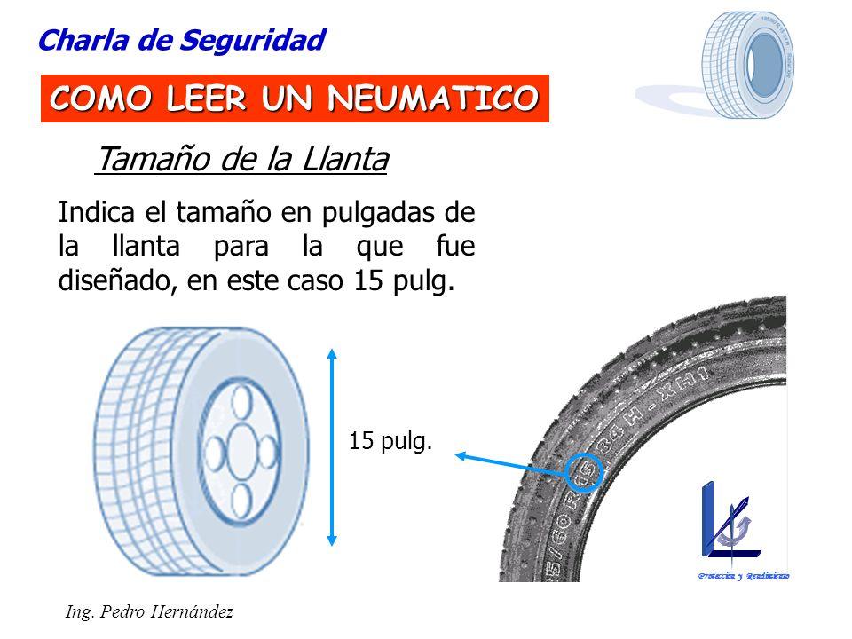 Ing. Pedro Hernández Charla de Seguridad COMO LEER UN NEUMATICO Tamaño de la Llanta Indica el tamaño en pulgadas de la llanta para la que fue diseñado