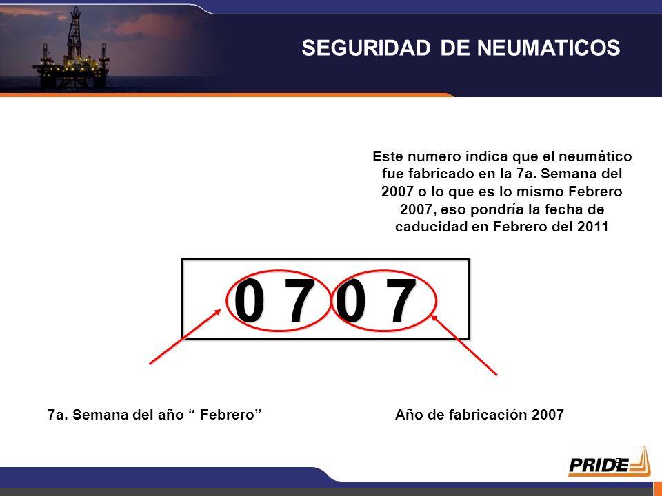 5 Este numero indica que el neumático fue fabricado en la 7a.