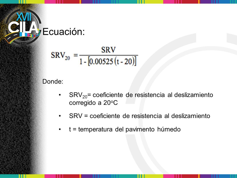 Ecuación: Donde: SRV 20 = coeficiente de resistencia al deslizamiento corregido a 20 o C SRV = coeficiente de resistencia al deslizamiento t = tempera