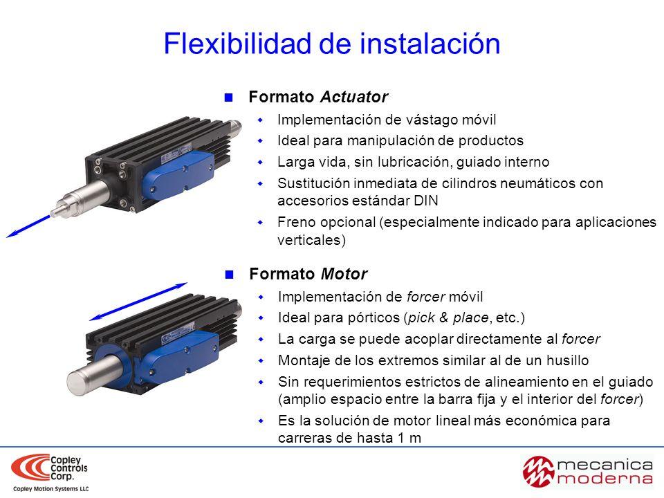 Formato Actuator Implementación de vástago móvil Ideal para manipulación de productos Larga vida, sin lubricación, guiado interno Sustitución inmediat