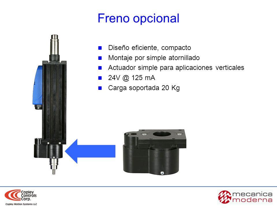 Diseño eficiente, compacto Montaje por simple atornillado Actuador simple para aplicaciones verticales 24V @ 125 mA Carga soportada 20 Kg Freno opcion