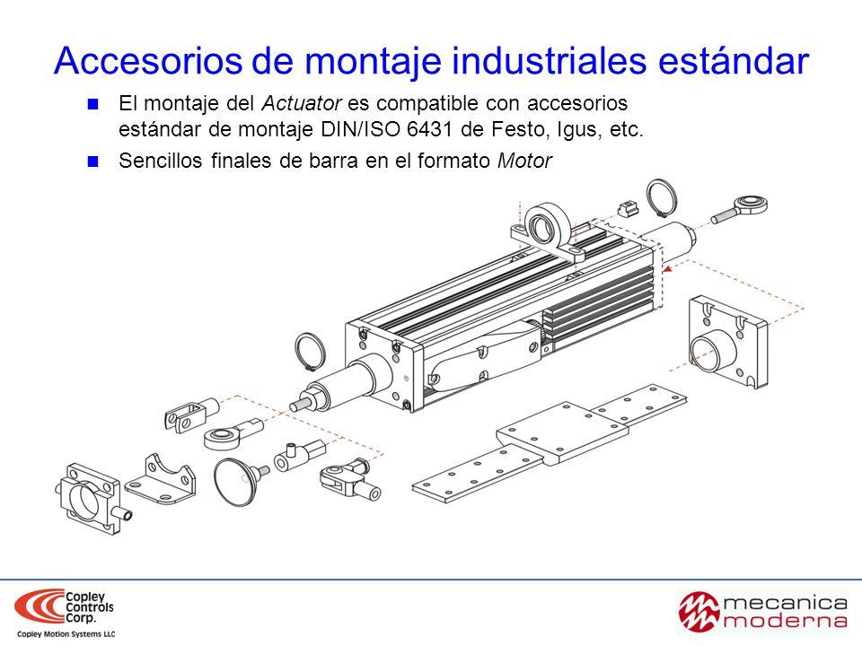 Accesorios de montaje industriales estándar El montaje del Actuator es compatible con accesorios estándar de montaje DIN/ISO 6431 de Festo, Igus, etc.