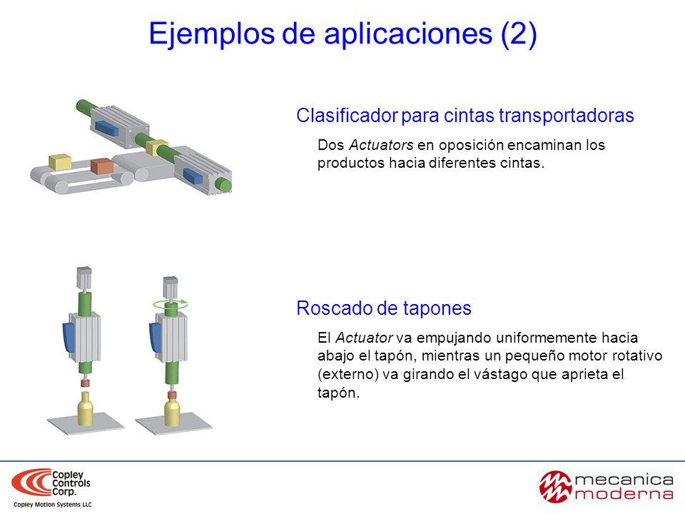 Clasificador para cintas transportadoras Dos Actuators en oposición encaminan los productos hacia diferentes cintas. Roscado de tapones El Actuator va