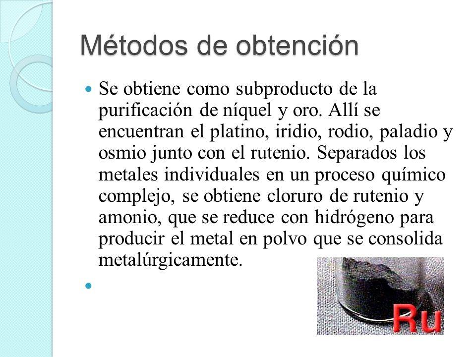 Métodos de obtención Se obtiene como subproducto de la purificación de níquel y oro. Allí se encuentran el platino, iridio, rodio, paladio y osmio jun