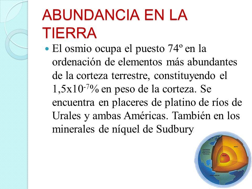 ABUNDANCIA EN LA TIERRA El osmio ocupa el puesto 74º en la ordenación de elementos más abundantes de la corteza terrestre, constituyendo el 1,5x10 -7
