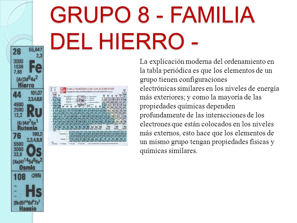 GRUPO 8 - FAMILIA DEL HIERRO - La explicación moderna del ordenamiento en la tabla periódica es que los elementos de un grupo tienen configuraciones e