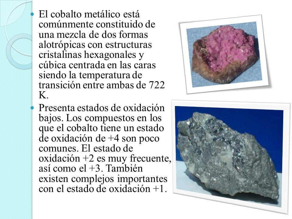El cobalto metálico está comúnmente constituido de una mezcla de dos formas alotrópicas con estructuras cristalinas hexagonales y cúbica centrada en l