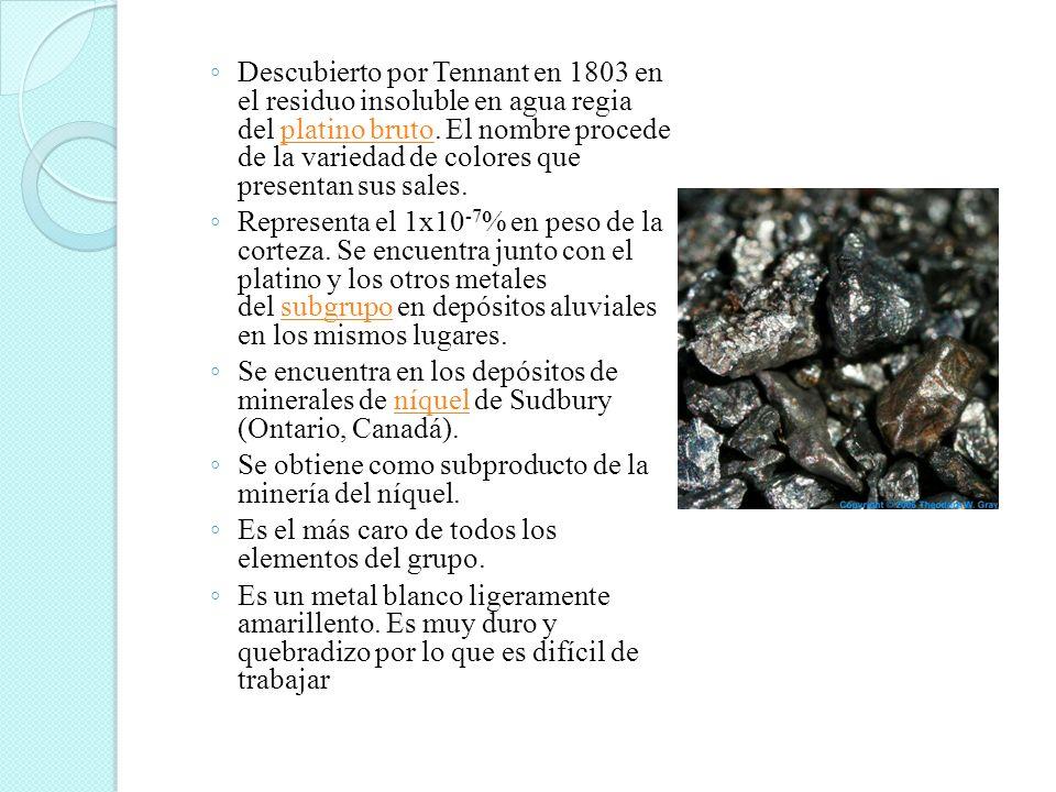 Descubierto por Tennant en 1803 en el residuo insoluble en agua regia del platino bruto. El nombre procede de la variedad de colores que presentan sus