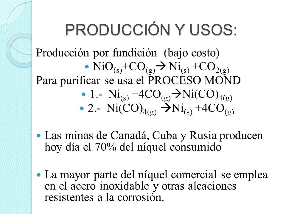 PRODUCCIÓN Y USOS: Producción por fundición (bajo costo) NiO (s) +CO (g) Ni (s) +CO 2(g) Para purificar se usa el PROCESO MOND 1.- Ni (s) +4CO (g) Ni(