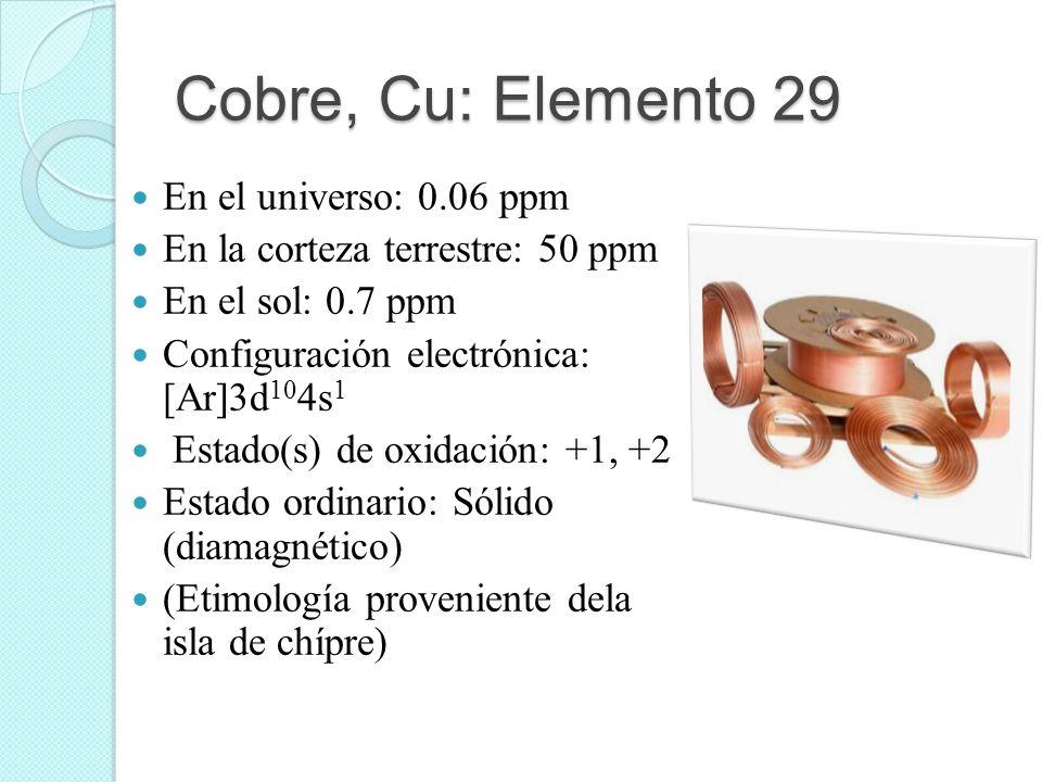 Cobre, Cu: Elemento 29 En el universo: 0.06 ppm En la corteza terrestre: 50 ppm En el sol: 0.7 ppm Configuración electrónica: [Ar]3d 10 4s 1 Estado(s)