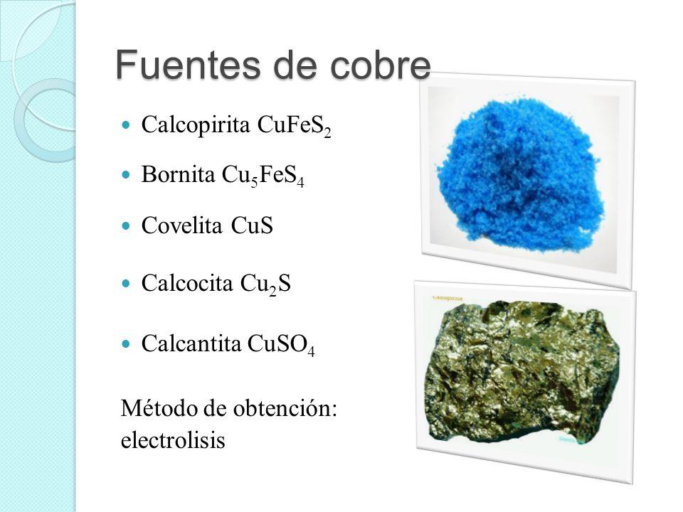 Fuentes de cobre Calcopirita CuFeS 2 Bornita Cu 5 FeS 4 Covelita CuS Calcocita Cu 2 S Calcantita CuSO 4 Método de obtención: electrolisis