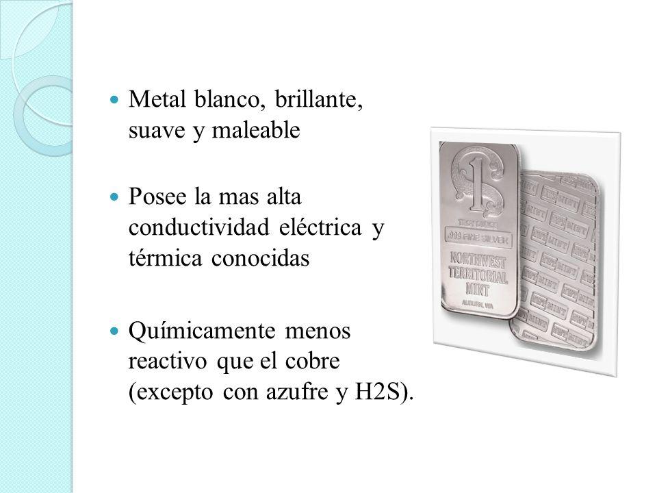 Metal blanco, brillante, suave y maleable Posee la mas alta conductividad eléctrica y térmica conocidas Químicamente menos reactivo que el cobre (exce