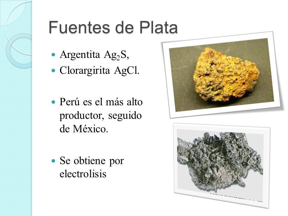 Fuentes de Plata Argentita Ag 2 S, Clorargirita AgCl. Perú es el más alto productor, seguido de México. Se obtiene por electrolisis