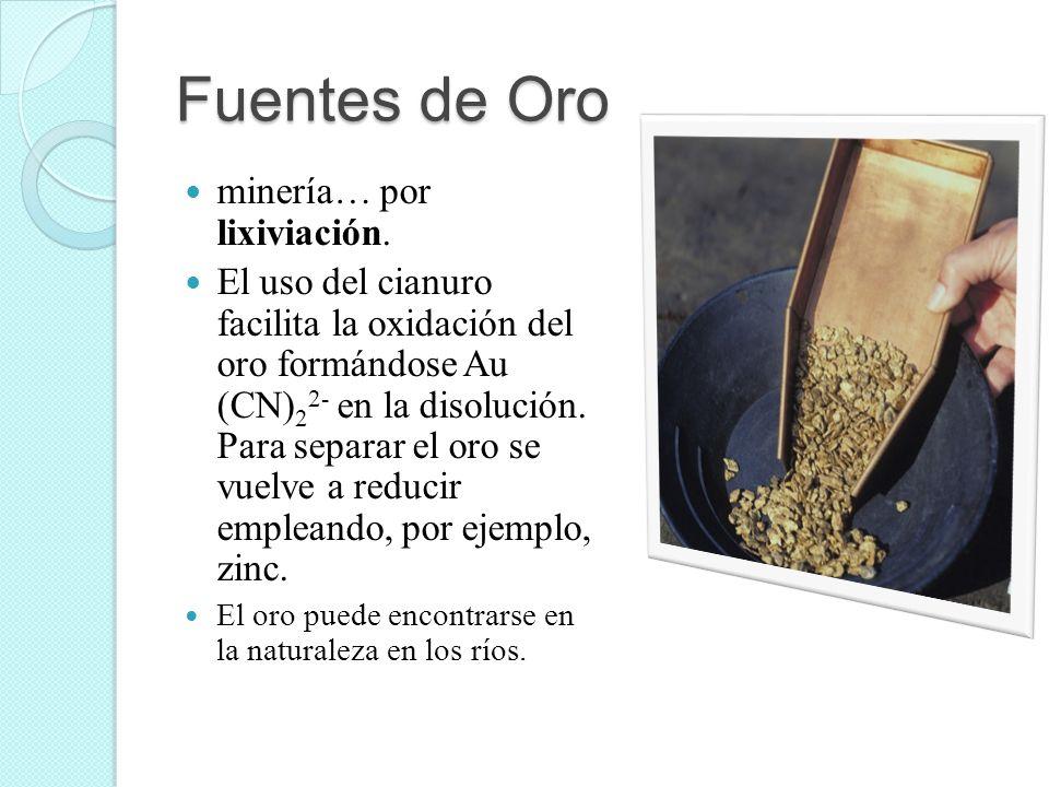 Fuentes de Oro minería… por lixiviación. El uso del cianuro facilita la oxidación del oro formándose Au (CN) 2 2- en la disolución. Para separar el or