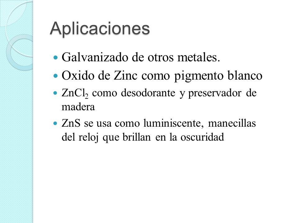 Aplicaciones Galvanizado de otros metales. Oxido de Zinc como pigmento blanco ZnCl 2 como desodorante y preservador de madera ZnS se usa como luminisc